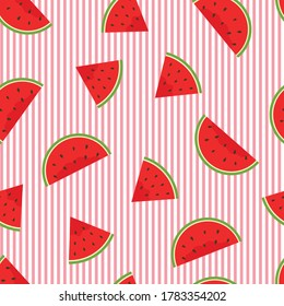 Seamless vector pattern A small piece of watermelon placed on a striped background Cartoon style design Used for printing, wallpaper, tablecloths, textiles