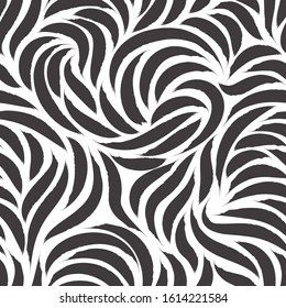 Seamless vector pattern of smooth lines or brush strokes of black color. Blank for printing on fabric, elegant monochrome texture isolated on white background