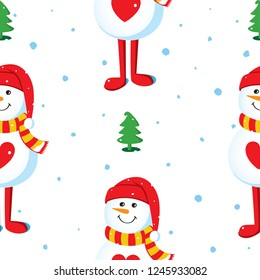 Seamless vector pattern with snowmen, Christmas trees and snowflakes on a white background. Christmas background design Illustration.