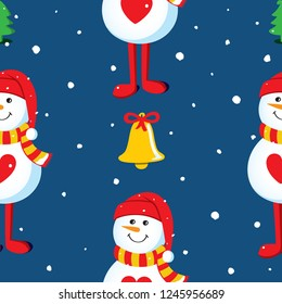 Seamless vector pattern with snowmen, Christmas trees, bells and snowflakes on a night sky background. Christmas background design Illustration.