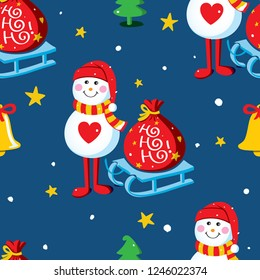 Seamless vector pattern with snowmen, sledge, gift sack, Christmas trees, bells and snowflakes on a night sky background. Christmas background design Illustration.