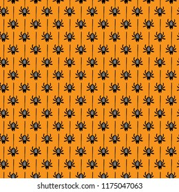 Seamless vector pattern with spiders. Seamless background for halloween. Good for packaging design, halloween packaging paper, thematical background