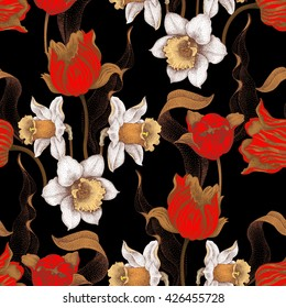 Seamless vector pattern with spring flowers daffodils and tulips. Vector illustration of floral ornament on black background. Designs for fabrics, textiles, wallpaper, wrapping paper. Victorian style.