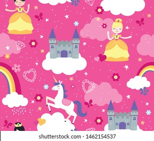 Seamless Vector Pattern of Storybook Fantasy Castle in the Clouds with unicorn and princesses.