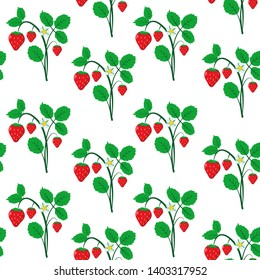 Seamless vector pattern with strawberry, flowers and leaves isolated on white or transporent background. Bright summer background.