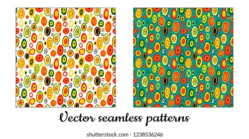 Seamless vector pattern. In the style of Gustav Klimt. Abstract bright colored background.