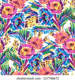 seamless vector pattern stylized flowers painted marker