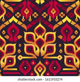 Seamless Vector Pattern with Stylized Red and Golden Plants on Black. Mix of Stylish Decorative Shapes for Cover Design