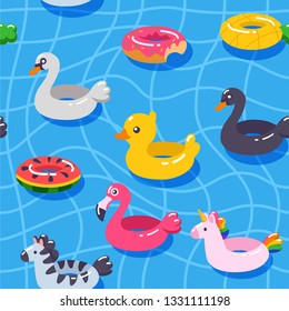 Seamless vector pattern summer swimming pool floats. Inflatable circle (rubber rings) in shape of duck, unicorn, white swan, black swan, zebra, pineapple, watermelon, donut, flamingo
