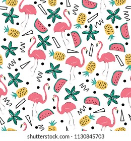 Seamless vector pattern in summer tropical style. Flamingos, watermelon and pineapple.