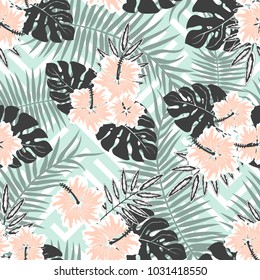 Seamless Vector Pattern of Summery Tropical flowers and leaves ideal for creating wallpapers, fabric patterns, clothing prints, labels, crafts and other projects