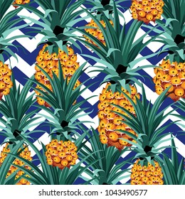 Seamless Vector Pattern of Summery Tropical fruits ideal for creating wallpapers, fabric patterns, clothing prints, labels, crafts and other projects