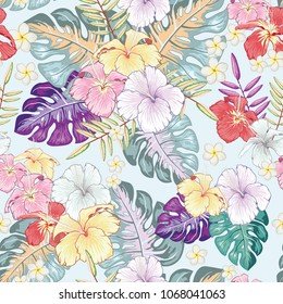 Seamless Vector Pattern of Summery Tropical flowers and leaves ideal for creating wallpapers, fabric patterns, clothing, prints, labels, crafts and other projects