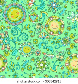 Seamless vector pattern with sunflowers and cute smiling flowers. Kids illustration, romantic background.