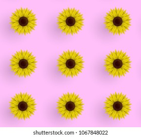 Seamless vector pattern of sunflowers. Illustration on a pink background. Wrapping paper. Summer print.