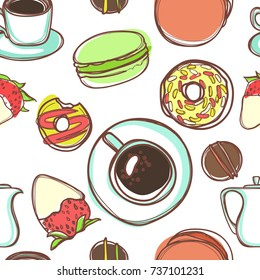 The seamless vector pattern of sweets and coffee