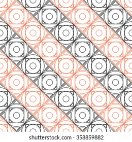 Seamless vector pattern. Symmetrical geometric background with black and red squares on the white backdrop. Decorative repeating ornament.