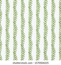 Seamless Vector Pattern. Tamarind Branch with Green Leaves on a White Background