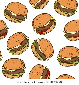 Seamless Vector Pattern with Tasty Burger on a White Background
