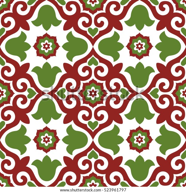 Seamless vector pattern with tatar ornament. Eastern stylish abstract background. Colorful flat oriental texture for wrapping
