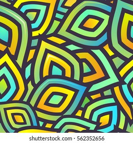Seamless Vector Pattern for Textile Design. Mix of Colorful Stripes. Green, Yellow and Blue Colors