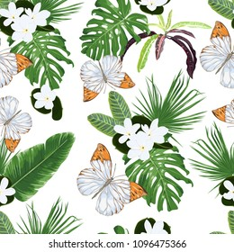 Seamless vector pattern with tiare flowers, tropical leaves and butterflies.