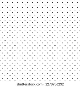 Seamless vector pattern with tile black polka dots on white background
