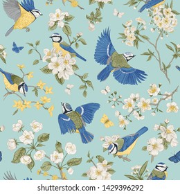 Seamless vector pattern with tits and blooming trees. Birds and flowers. Chinoiserie