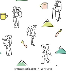 Seamless vector pattern: tourists with backpacks, mugs, mountain, opener