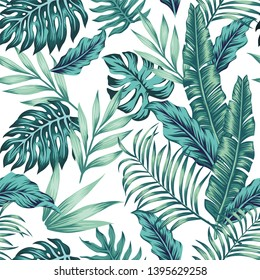 Seamless vector pattern tropical composition exotic blue leaves on the white background. Summer realistic wallpaper