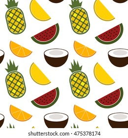 Seamless vector pattern with tropical fruits isolated on white background