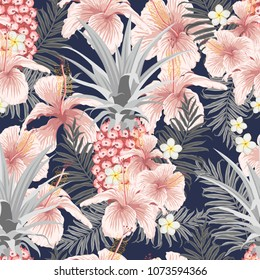Seamless Vector Pattern of Tropical leaves, flowers and fruits ideal for creating wallpapers, fabric patterns, clothing prints, labels, crafts and other projects