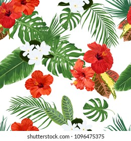 Seamless vector pattern with tropical leaves, tiare flowers and hibiscus.
