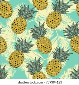Seamless vector pattern. Tropical leaves and fruits pattern.