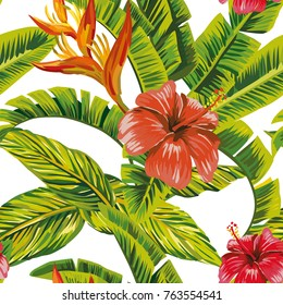 Seamless vector pattern tropical leaves and exotic flowers hibiscus. Beach bikini wallpaper print