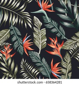 Seamless vector pattern of tropical palm leafs and flowers abstract color. Fashion floral beach wallpaper on a black background