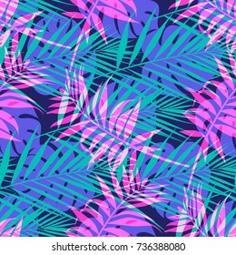 Seamless vector pattern with tropical palm leaf in neon colors.
