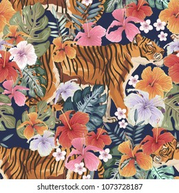Seamless Vector Pattern of Tropical plants and tigers ideal for creating wallpapers, fabric patterns, clothing prints, labels, crafts and other projects