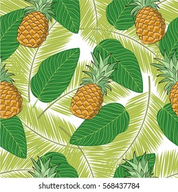 Seamless vector pattern. Tropical plants and pine apples pattern on the white background.