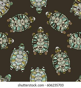Seamless vector pattern with turtles. Hand painted tribal styled tortoises.
