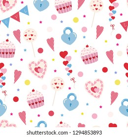 Seamless vector pattern for Valentine's day and Wedding Invitation Card. Sweet love texture for packaging paper, fabric, decorative prints and invitation card. Vector illustration.