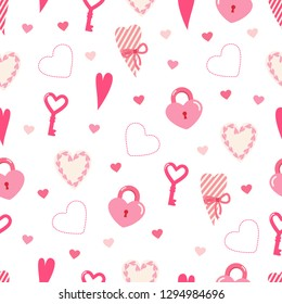 Seamless vector pattern for Valentine's day and Wedding Invitation Card. Sweet love texture for packaging paper, fabric, decorative prints and invitation card. Vector repeating texture.