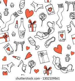 seamless vector pattern for Valentine's day or wedding with attributes of romantic date and hearts, lingerie, roses, gifts and wine.