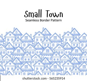 Seamless vector pattern with various cartoon houses. Border.