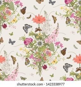 Seamless vector pattern with Victorian bouquet and butterflies. Garden flowers.