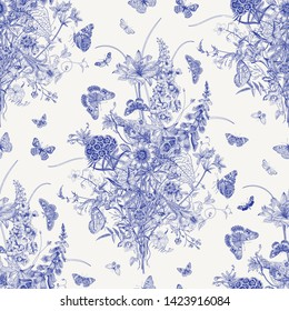 Seamless vector pattern with Victorian bouquet and butterflies. Garden flowers. Toile de Jouy