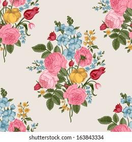 Seamless vector pattern with Victorian bouquet of colorful flowers on a gray background. Pink roses, tulips, blue delphinium.
