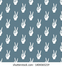 Seamless vector pattern with victory gesture. Two fingers raised up. Gesturing of peace and success. Design for textile, banner, poster or print.