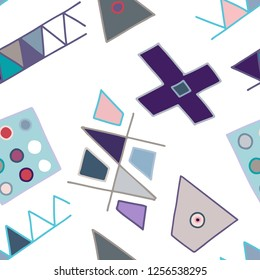 Seamless vector pattern, vintage lined asymmetric geometric background with rhombus, triangles. Print for decor, wallpaper, packaging, wrapping, fabric. graphic design. Line drawing