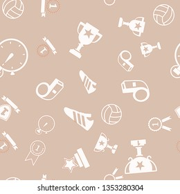 Seamless vector pattern with voleyball  sport equipment, isolated on brown. Vector illustration